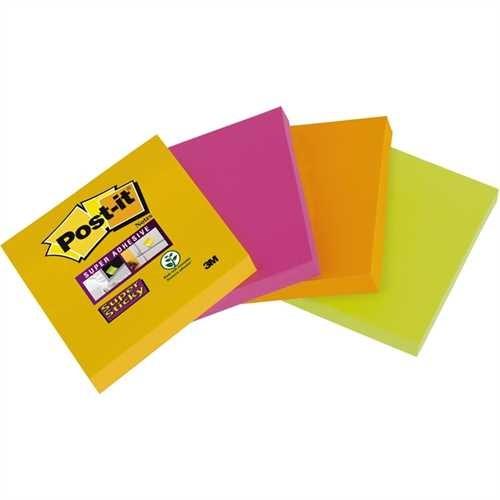 Post-it Haftnotiz Super Sticky, 48 x 48 mm, 4farbig sortiert, 45 Blatt (4 Blocks)