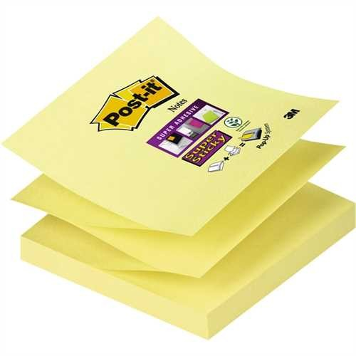 Post-it Haftnotiz Super Sticky Z-Notes, 76 x 76 mm, gelb, 90 Blatt (1 Block)