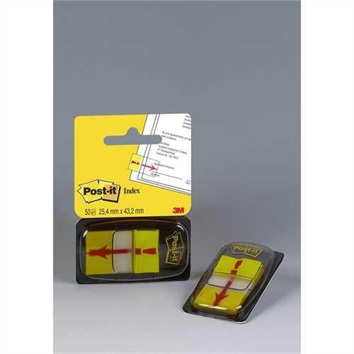 Post-it Haftmarker 680, mit Symbol, Ausrufezeichen, 25,4 x 43,2 mm, gelb, Druckfarbe: rot, 50 Blatt