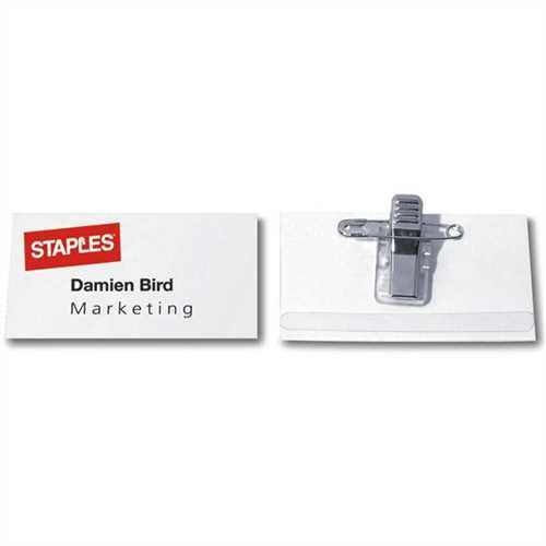 STAPLES Namensschild, mit: Kombiklemme, Kunststoff, 75 x 40 mm, farblos (50 Stück)