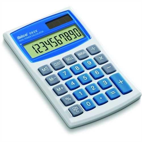 ibico Taschenrechner, 082 X, Solar-/Batteriebetrieb, flaches Display, LCD, 10stellig, 1zeilig, 68 x