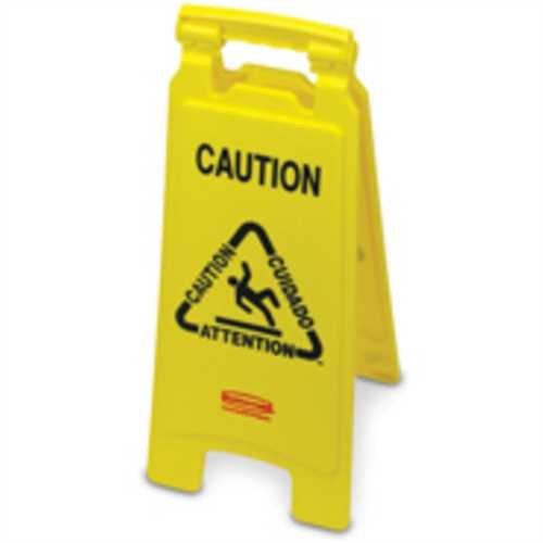 RubbermaidCommercial Products Schild, CAUTION WET FLOOR, 3sprachig, gelb, Druckfarbe: schwarz/rot