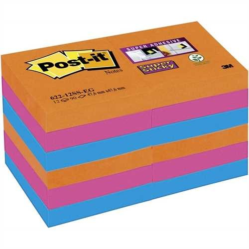 Post-it Haftnotiz Super Sticky Neon, 48 x 48 mm, 3farbig sortiert, 90 Blatt (12 Blocks)