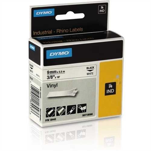 DYMO Schriftbandkassette, Rhino, Vinyl, 9 mm x 5,5 m, schwarz auf weiß