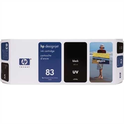 HP Tintenpatrone 83, C4940A, original, UV, schwarz, 680 ml