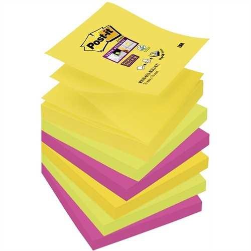 Post-it Haftnotiz Super Sticky Z-Notes, 76 x 76 mm, 4farbig sortiert, 90 Blatt (6 Blocks)