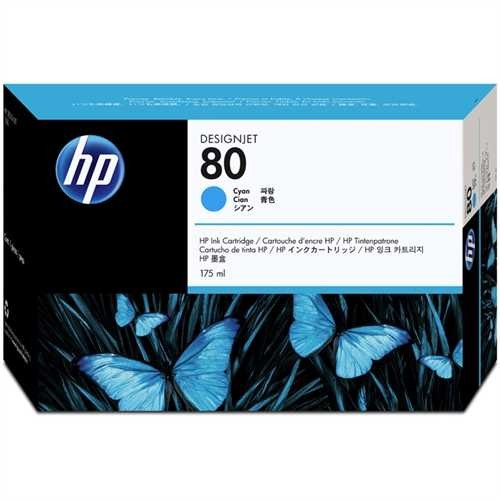 HP Tintenpatrone 80, C4872AE, original, cyan, 175 ml