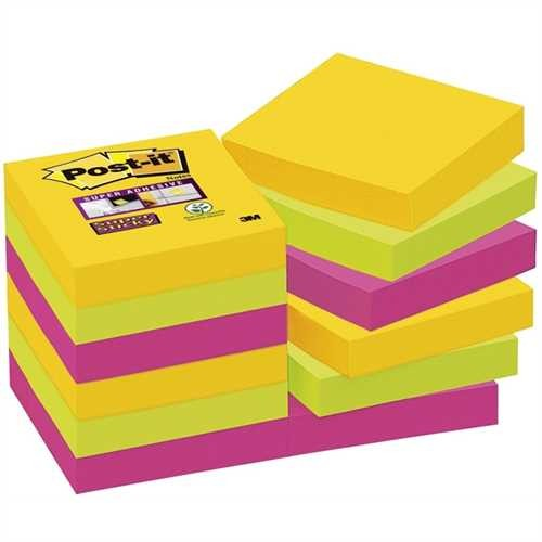 Post-it Haftnotiz Super Sticky, 48 x 48 mm, 3farbig sortiert, 90 Blatt (12 Blocks)
