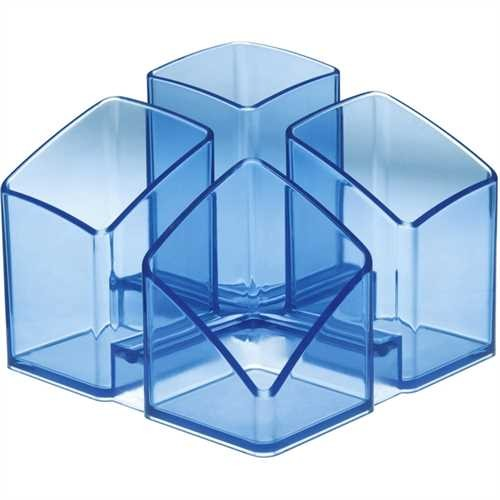 HAN Stifteköcher SCALA, PS, rechteckig, 4 Fächer, blau, transparent