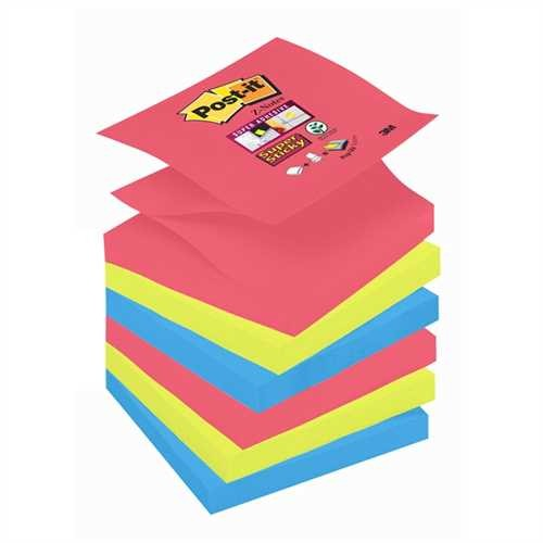 Post-it Haftnotiz Super Sticky Z-Notes, 76 x 76 mm, 3farbig sortiert, 90 Blatt (6 Blocks)
