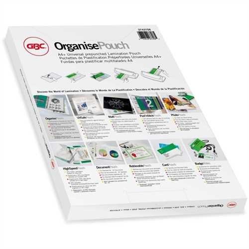 GBC Laminiertasche Organise™ Pouch, Universallochung, A4+, 228 x 303 mm, 0,075 mm, glänzend (25 Stüc