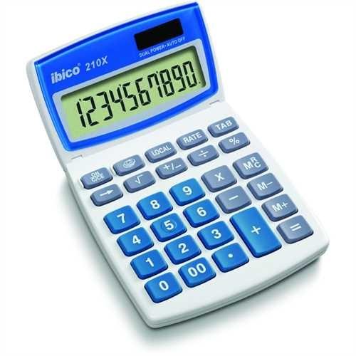 ibico Tischrechner, 210X, Solar-/Batteriebetrieb, bewegliches Display, LCD, 10stellig, 1zeilig, 104