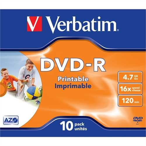 Verbatim DVD-R, full printable, Jewelcase, einmalbeschreibbar, 4,7 GB, 16 x (10 Stück)