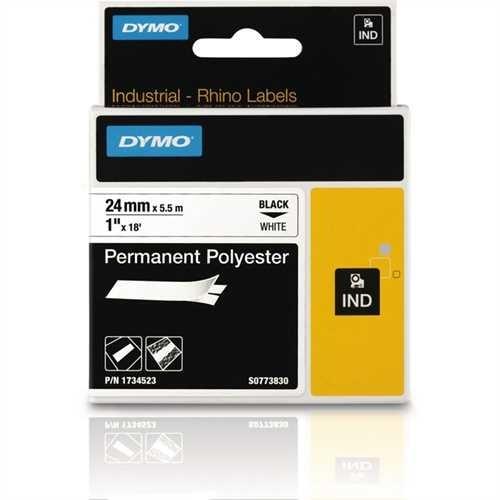 DYMO Schriftbandkassette, Rhino, Polyester, 24 mm x 5,5 m, schwarz auf weiß