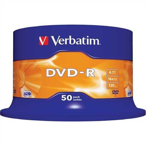 Verbatim DVD-R, Spindel, einmalbeschreibbar, 4,7 GB, 16 x (50 Stück)