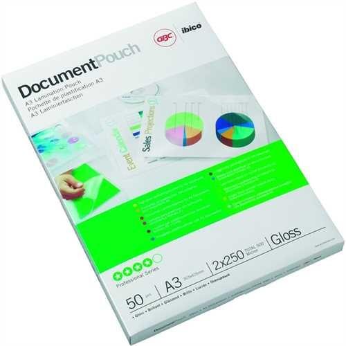 GBC Laminiertasche Document™ Pouch, A3, 303 x 426 mm, 0,25 mm, transparent, glänzend (50 Stück)