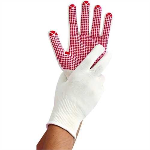 BaumwollhandschuheSTRUCTA II weiß rot Gr.M 1Paar Noppen