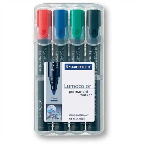 STAEDTLER Permanentmarker Lumocolor 352, Rundspitze, 2 mm, Schreibf.: 4er so