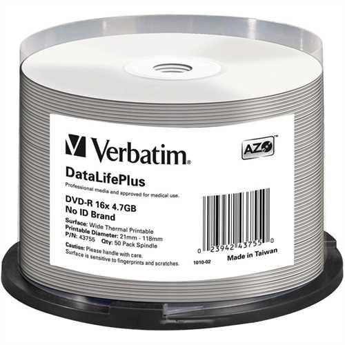 Verbatim DVD-R DataLifePlus, full printable, Spindel, einmalbeschreibbar, 4,7 GB, 16 x (50 Stück)