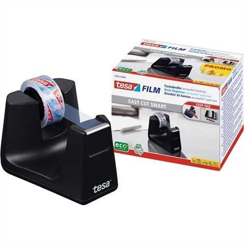 tesa Tischabroller Easy Cut smart, gefüllt, Kunststoff (RC), schwarz, mit 1 Rolle tesafilm kristallk