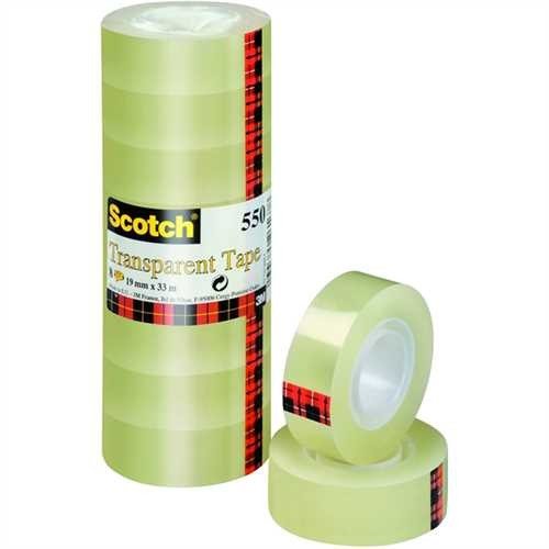 Scotch Klebeband 550, selbstklebend, 19 mm x 33 m, transparent (8 Rollen)