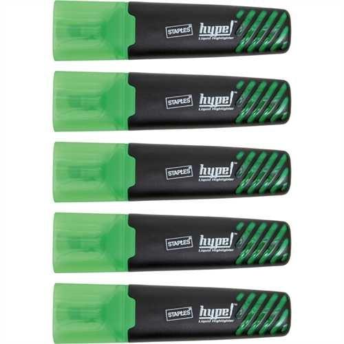 STAPLES Textmarker, hype, Einweg, Keilspitze, 1 - 5 mm, Schreibfarbe: grün (5 Stück)