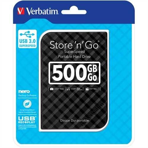 Verbatim Festplatte Store 'n' Go, schwarz, extern, 500 GB, 5.400 rpm, 81 x 14,5 x 119 mm, 140 g