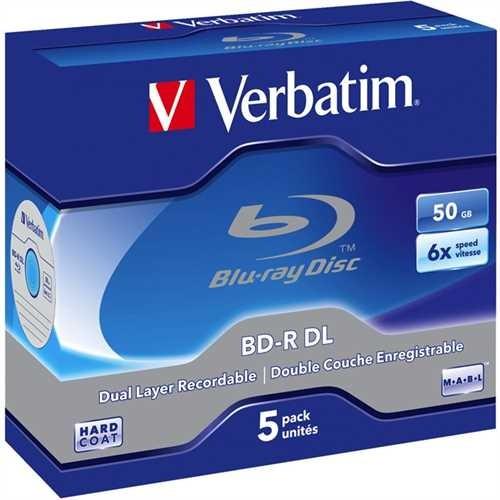 Verbatim Blu-ray Disc™, Dual Layer, Jewelcase, einmalbeschreibbar, 50 GB, 6 x (5 Stück)