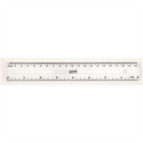 STAPLES Lineal, Kunststoff, mit Aufhängeloch, Länge: 20 cm, mm-Teilung, farblos, transparent, transp