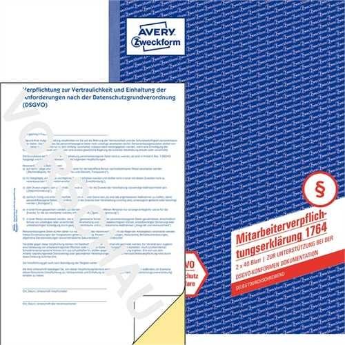 AVERY Zweckform Mitarbeiterverpflichtungserklärung, A4, sd, weiß/gelb, 2 x 40 Blatt