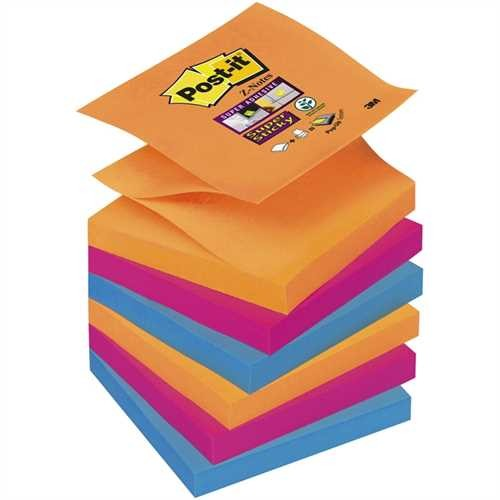 Post-it Haftnotiz Super Sticky Z-Notes, 76 x 76 mm, 3farbig sortiert, 90 Blatt (6 Blocks)