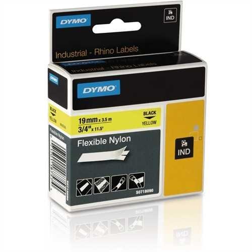 DYMO Schriftbandkassette, Rhino, Nylon, 19 mm x 3,5 m, schwarz auf gelb