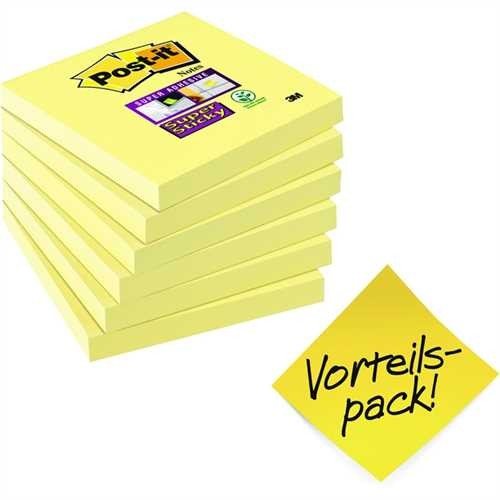 Post-it Haftnotiz Super Sticky, 76 x 76 mm, gelb, 90 Blatt (6 Stück)