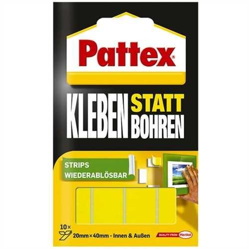 Pattex Doppelklebestück Kleben statt Bohren, Packung, selbstklebend, fest haftend, dennoch ablösbar,