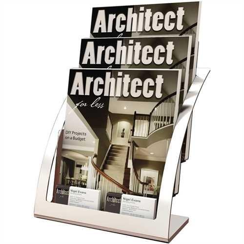 deflect-o Prospektständer Contemporary Floor, 3 Fächer, 285 x 340 x 160 mm, silber
