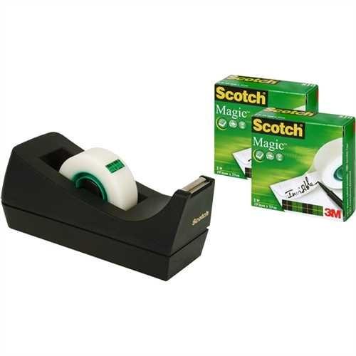 Scotch Tischabroller Promotionset 3+1, gefüllt, PS, für Rollen bis 19 mm x 33 m, schwarz, mit 3 Roll