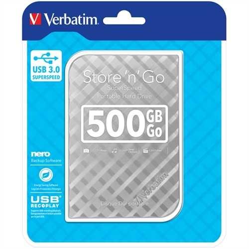 Verbatim Festplatte Store 'n' Go, silber, extern, 500 GB, 5.400 rpm, 81 x 14,5 x 119 mm, 140 g
