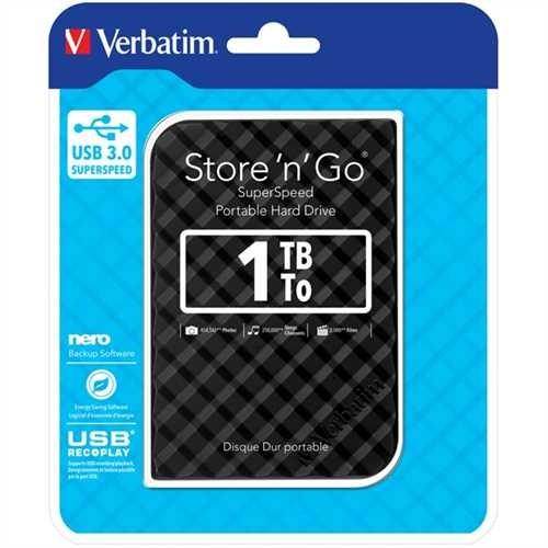 Verbatim Festplatte Store 'n' Go, schwarz, extern, 1 TB, 5.400 rpm, 81 x 14,5 x 119 mm, 158 g