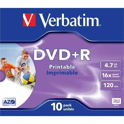 Verbatim DVD+R, full printable, Jewelcase, 4,7 GB, 16 x (10 Stück)