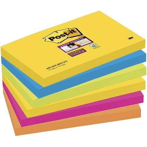 Post-it Haftnotiz Super Sticky, 127 x 76 mm, 5farbig sortiert, 90 Blatt (6 Blocks)
