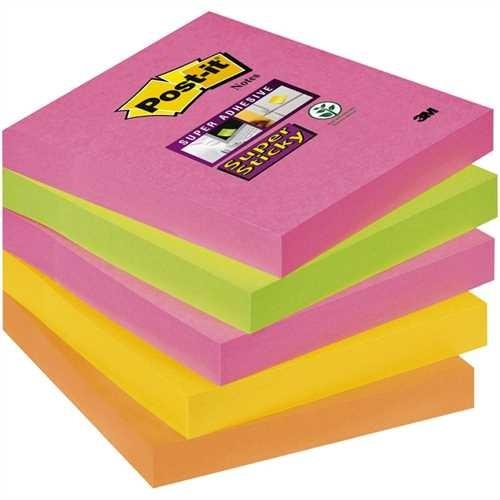 Post-it Haftnotiz Super Sticky Cape Town Collection, 76 x 76 mm, sortiert, 90 Blatt (5 Blocks)