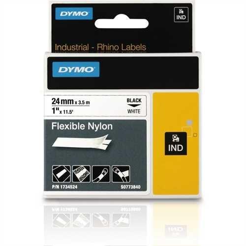 DYMO Schriftbandkassette, Rhino, Nylon, 24 mm x 3,5 m, schwarz auf weiß