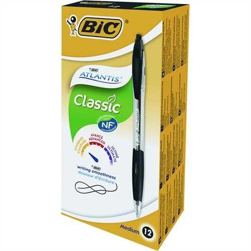 BIC Kugelschreiber Atlantis™ Classic, nachfüllbar, Druckmechanik, 0,4 mm, Schreibfarbe: schwarz (12