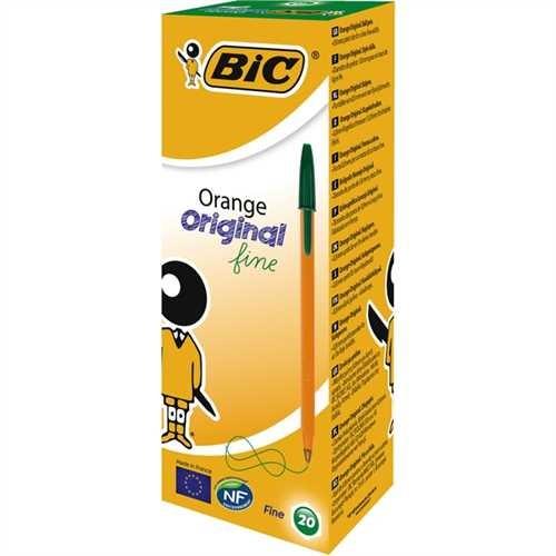 BIC Kugelschreiber, Orange™, 0,35 mm, Schaftfarbe: orange, Schreibfarbe: grün (20 Stück)