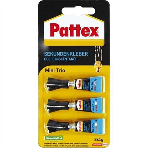 Pattex Sekundenkleber, Mini Trio, 3 x 1 g (3 g)
