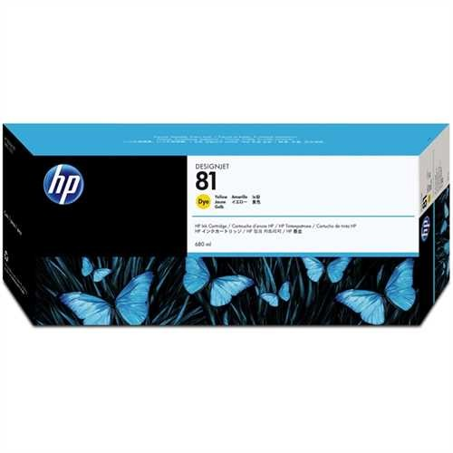 HP Tintenpatrone 81, C4933A, original, Dye, gelb, 680 ml