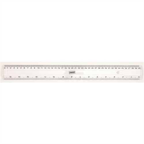 STAPLES Lineal, Kunststoff, mit Aufhängeloch, Länge: 40 cm, mm-Teilung, farblos, transparent, transp