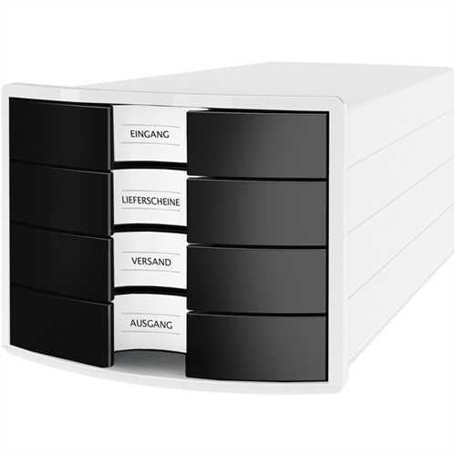 HAN Schubladenbox IMPULS, m.4 geschl.Schubladen, A4/C4, weiß/schwarz