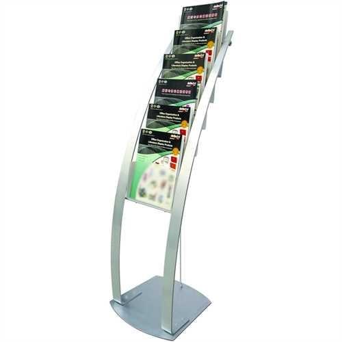 deflect-o Prospektständer Contemporary Floor, 6 Fächer A4 hoch, 375 x 405 x 1.249 mm, silber