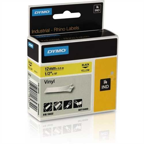 DYMO Schriftbandkassette, Rhino, Vinyl, 12 mm x 5,5 m, schwarz auf gelb